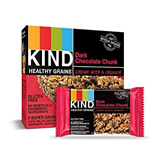 KIND Healthy Grains Bars, Dark Chocolate Chunk, Gluten Free, 1.2 oz, 5 Count (8 Pack)
