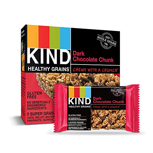 KIND Healthy Grains Granola Bars, Dark Chocolate Chunk, Gluten Free, 5 Count, Pack of 6