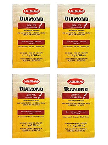 Lager Pilsner (DIAMOND LAGER 4 11g PACKETS DRY BEER YEAST for CALIFORNIA COMMON, PILSNER, LAGER, BOCK AND MEAD)