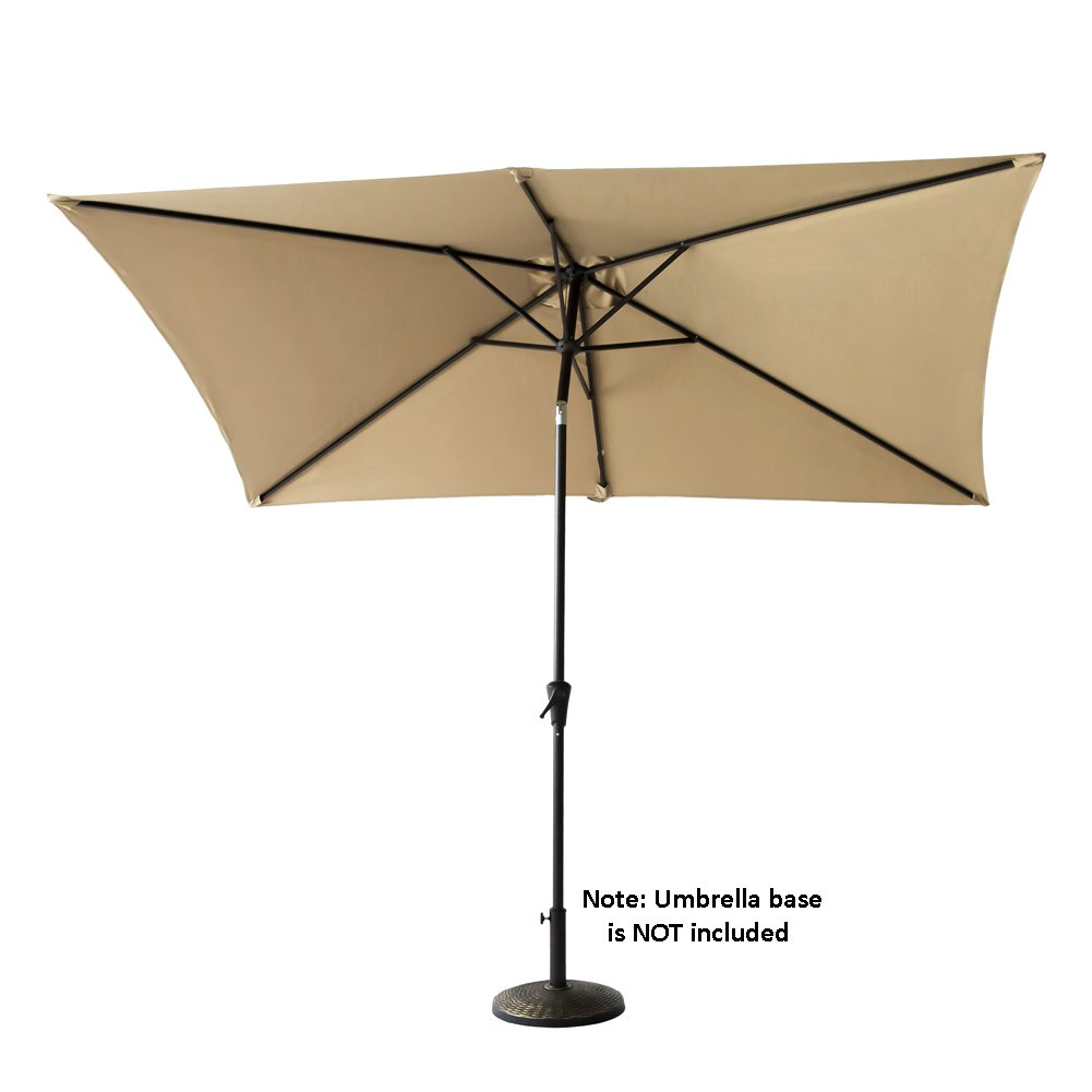 FLAME&SHADE 6ft 6in x 10 ft Rectangular Outdoor Market Patio Umbrella Parasol with Crank Lift, Push Button Tilt, Beige by FLAME&SHADE (Image #5)