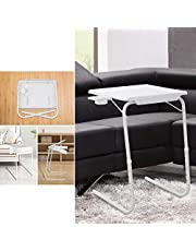 Foldable Table Adjustable Tray Portable Folding Laptop Desk Removable Cup Holder