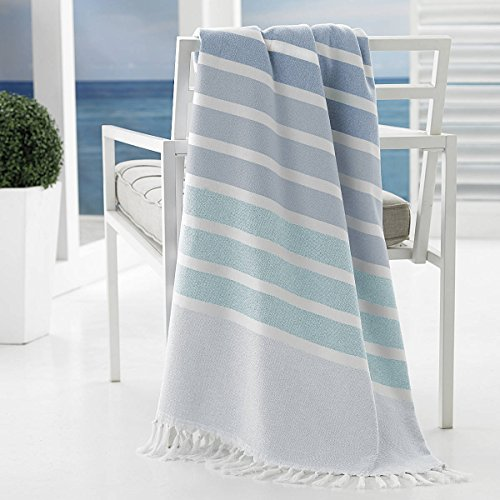 Discount Kassatex Bodrum Beach Towels Collection, Set of 2 - Aqua for cheap