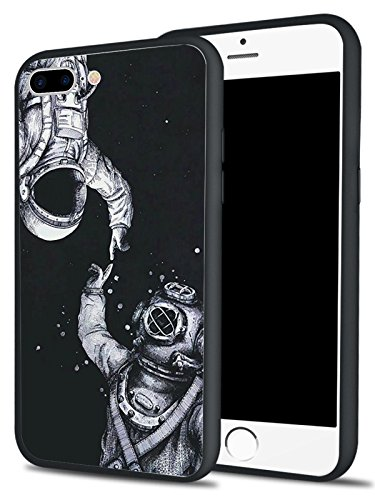 MAYCARI Hybrid iPhone 7 8 Plus Case Ultra Thin Soft Flexible TPU Bumper Hard PC Back Protective Shell with Space Astronaut Pattern Print Black Cover for Men
