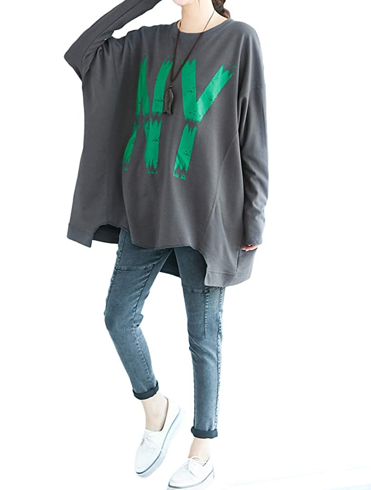 Vogstyle Women's New Letter Printed Tunic Shirt Casual Tops Plus Size