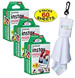 Fujifilm Twin-Pack of 10 Instax Mini Film (60-Sheets) | Designed for Mini 8 / Mini 9 Camera | Develops and Prints Photos Instantly | -Bonus- Free Lens Cleaner Microfiber Cloth