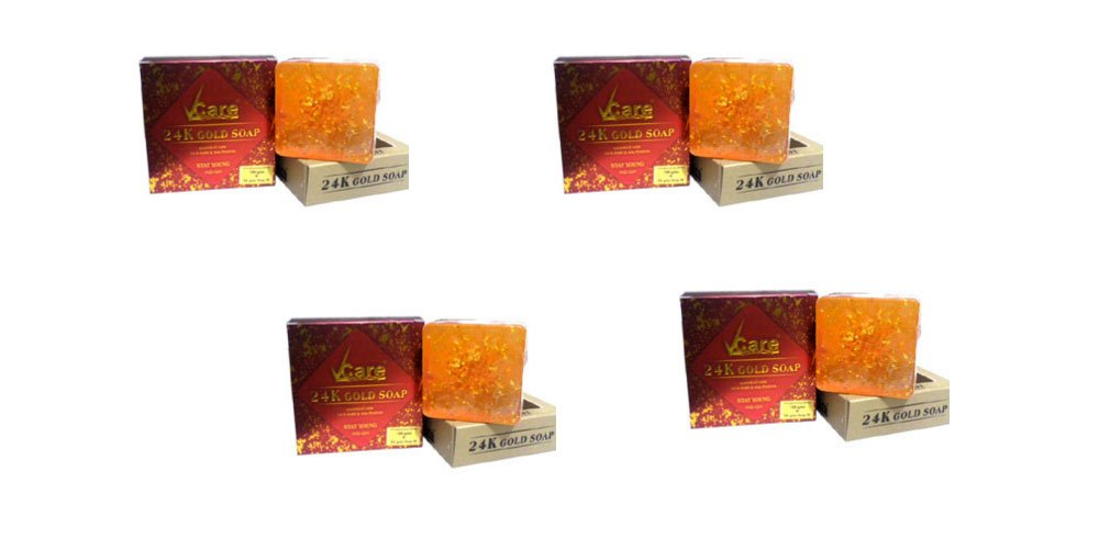 Pack of 4 - 24K Gold Soap by Vcare - Enriched With 24 K Gold & Soya Protein - Stay Young - 100g