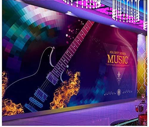 (Large Custom 3D Wallpaper Mural Bar Ktv Nightclub Backdrop Decorative Painting-Colorful BarKtvElectroacoustic GuitarBackground Wall, 430Cmx300Cm)