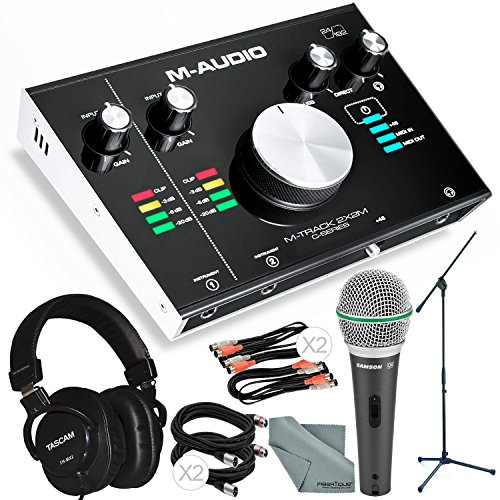 M-Audio M-Track 2X2M USB Audio Interface with MIDI I/O and Platinum Bundle w/Dynamic Mic + Mixing Headphones + Mic Stand + Cables + More from Photo Savings