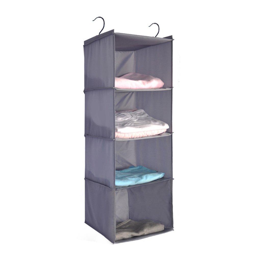 Senior Shop 4-Tier Hanging Closet Organizer, Collapsible Closet Hanging Shelf (gray)