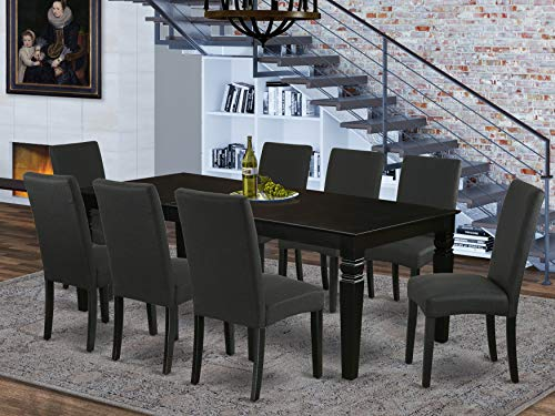 9Pc Rectangle 66/84 Inch Kitchen Table With 18 In Leaf And Eight Parson Chair With Black Finish Leg And Linen Fabric- Black Color