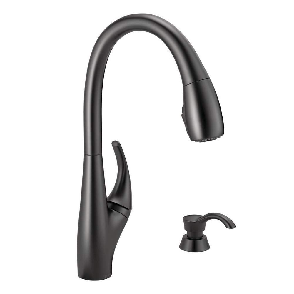 Delta 19912Z-BLSD-DST Deluca Single-Handle Pull-Down Sprayer Kitchen Faucet with ShieldSpray Technology and Soap Dispenser in Matte Black