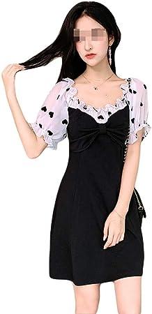 Vestido - Cóctel 50s Elegante Mujer Cinturón Gasa Costura Pequeña Falda Negra Camisa de Manga Corta y Cintura Alta Falda 4 tamaños Rockabilly Clásico (Size : S): Amazon.es: Hogar