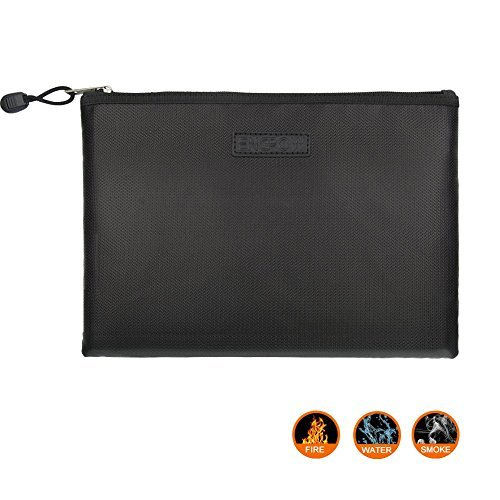 Fireproof A4 file bag NON-ITCHY Zipper and Velcro Closure For File Pouch Silicone Coated Safe Fire&Water Resistant Money Purse (X-Large(13.5\