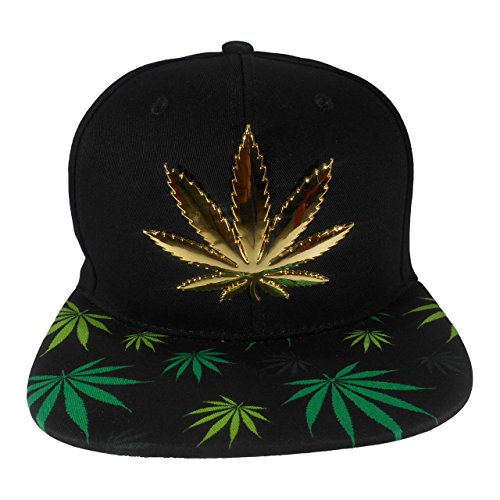 Cap2Shoes-Mens-Marijuana-Metal-Weed-Leaf-Snapback-One-Size-Black