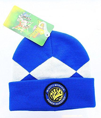 Power Rangers Costume Beanie Hat (Blue Ranger), One (Blue Power Ranger Costumes For Adults)