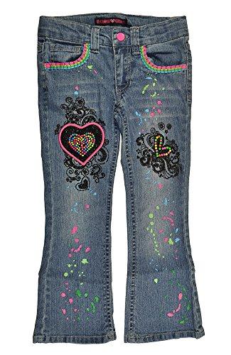 U Glow Girl Little Girls Denim Blue Heart Patch Move Me Light Up Boot Cut Jeans (4) Joker Jeans