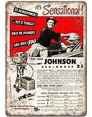 Johnson Sea-Horse Outboard Motor Lichtgewicht metalen tin plaque stevige en duurzame retro look die nooit vervaagt 20 * 30 cm