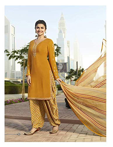 Royal Crepe Embroidered Patiala Salwar Suit with Chiffon Dupatta for Women (0X-Plus, Yellow)