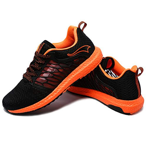 YiDiar Breathable Männer Athletic Trail Laufschuhe Outdoor Walking Jogging Training Sport Turnschuhe Schwarz / Orange
