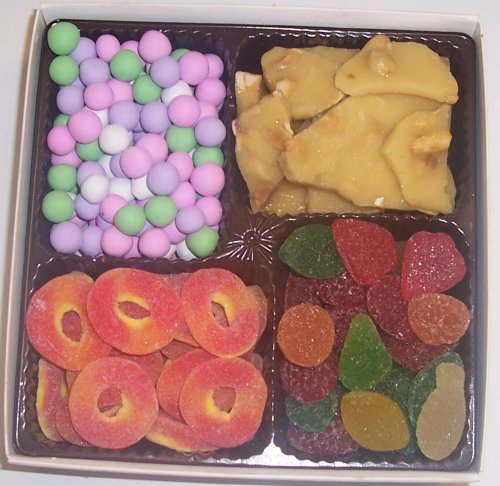 Scott's Cakes Large 4-Pack Chocolate Dutch Mints, Peach Rings, Pectin Fruit Gels, & Peanut Brittle by Scott's Cakes