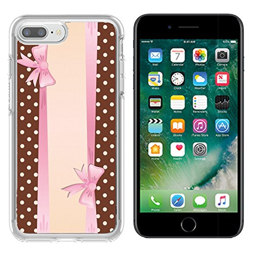 - Liili Apple iPhone 7 plus/8 plus Clear case Soft TPU Rubber Silicone Bumper Snap Cases iPhone7 plus/8 plus IMAGE ID 32509031 Vintage greeting card Brown dotted background and pink ribbon