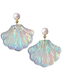 Sea Shell Earrings for Women Rainbow Colorful Mermaid Glitter Earing for Girls Gold and White Pearls