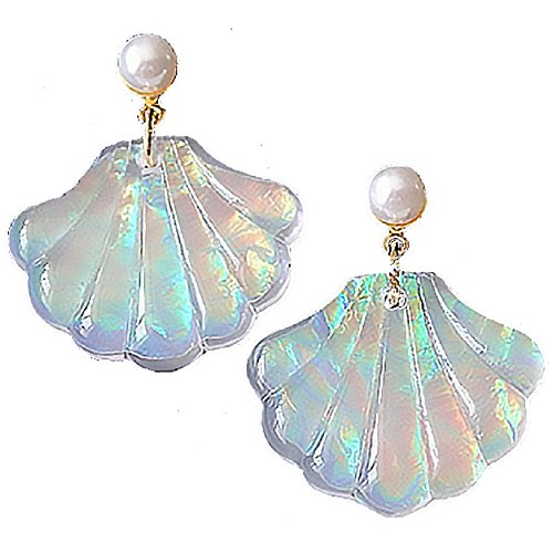 (Sea Shell Earrings for Women Rainbow Colorful Mermaid Glitter Earing for Girls Gold and White Pearls)