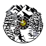 Toffy Workshop Skiing Vinyl Record Wall Clock Decor – Exciting guest room decor – perfect gift idea for children, adults, men and women – Skiing int he Mountains Unique Art Design! Review
