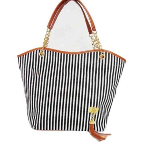 [Hotportgift Fashion Stripe Design Women Street Snap Candid Tote Single Shoulder Canvas Bag Handbag (black)] (Stripe Shoulder Tote Bag)