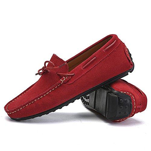 Genuino Penny Hombre De Rojo Tamaño Zapatos Rojo color Mocasines Eu Cuero Con Los 2018 Sole Estilo Studs 40 Para Cordones Goma Hombres t0P7UxTgqT
