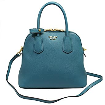 4b37296402d0 Amazon.com: PRADA Women's Saffiano Leather Hand Bag W/Strap Blue Bl0907 Saffiano  Laguna: Clothing
