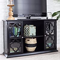 Modern Moroccan Black Quatrefoil TV Stand Media Cabinet with Glass Doors - Includes Modhaus Living Pen