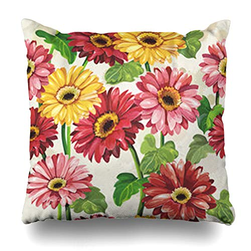 YeaSHARK Throw Pillow Covers Floral Daisy Elegance Color Gerbera Pattern On Light Watercolor Nature Vintage Aroma Blossom Zippered Design Square 16