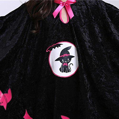 Animados de de Dibujos de las 3 de Vestidos Fiestas Piezas Halloween Set Traje de Calabaza Kids Adeshop del as Disfraz Halloween Cabo Vestido Sombrero Cosplay Negro elegante Bolsa de Capa Ni x80gwS7qB