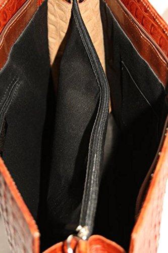 fashion-formel - Bolso al hombro de cuero para mujer Caramelo_Croco