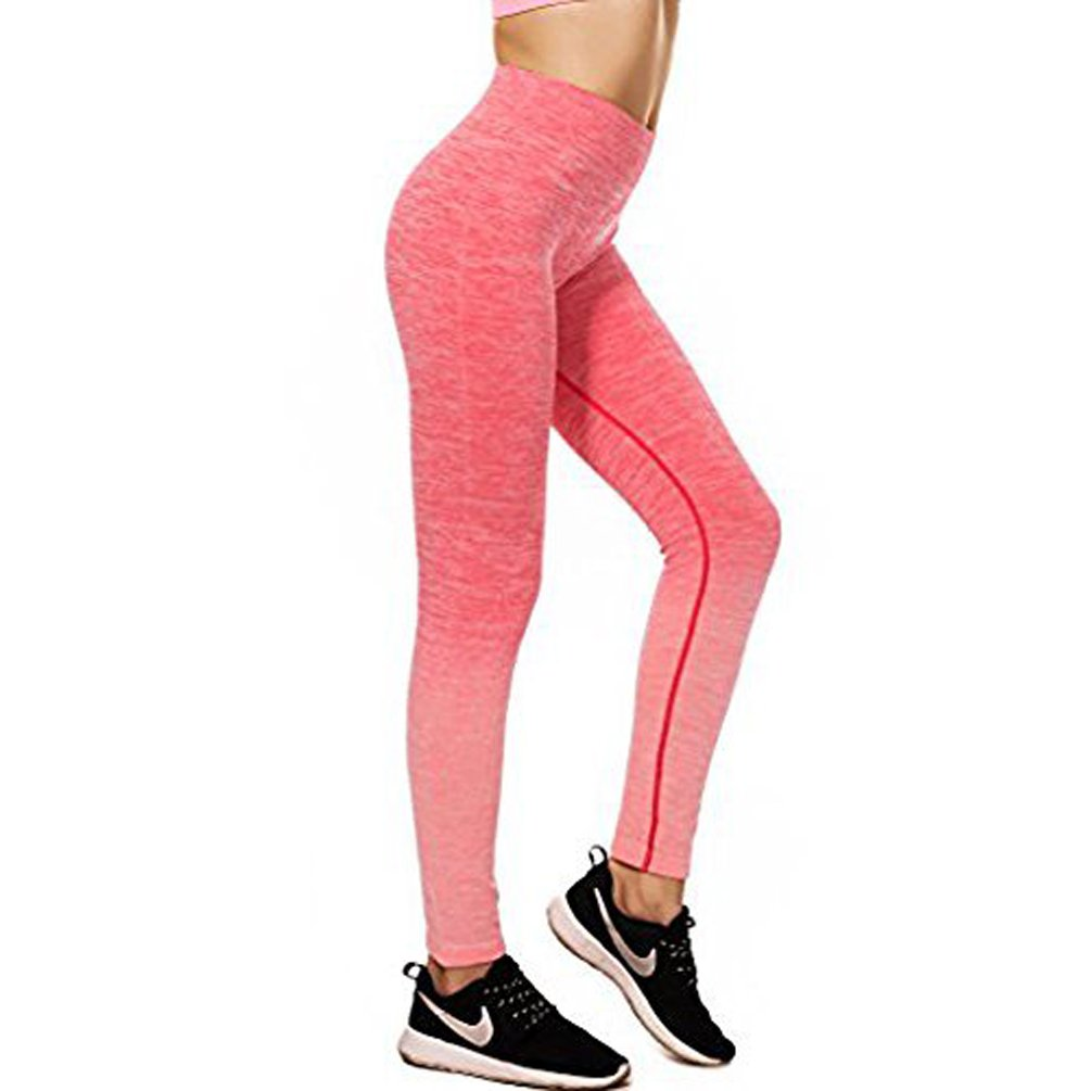 Fanceey Girl's Sport Ombre Yoga Pants High Waist Slimming Flexible Leggings Super Elastic Fitness Tights For Women Outdoor Joggers