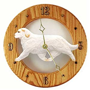 Michael Park Orange Clumber Spaniel Wall Clock in Light Oak 25
