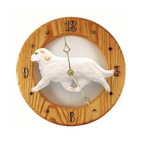 Michael Park Orange Clumber Spaniel Wall Clock in Light Oak 1