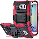 Galaxy S6 Edge Holster Case, Fosmon STURDY [Locking Swivel Belt Clip | Kickstand] Rugged Heavy Duty Shock Proof Case for Samsung Galaxy S6 Edge (Black/Red)