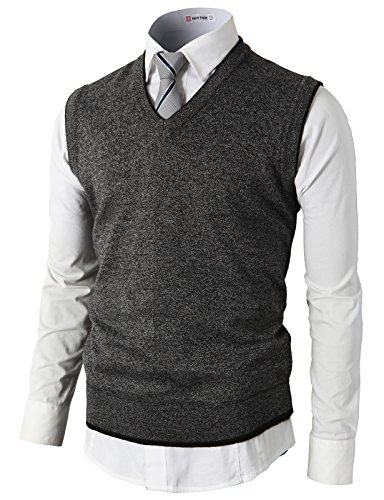 H2H Mens Casual Knitted Sweater Slim Fit Pullover Cable Sweater Links-Vest Gray US L/Asia XL (KMOV0109)