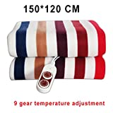 Striped Electric Blanket Thicker Heater Double Body Warmer 150 * 120Cm Heated Blanket Thermostat Electric Heating Blanket Electric Heating