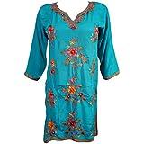 Mogul Womens Tunic Dress Blue Kashmiri Floral Embroidered Boho Hippie Silk Kurti