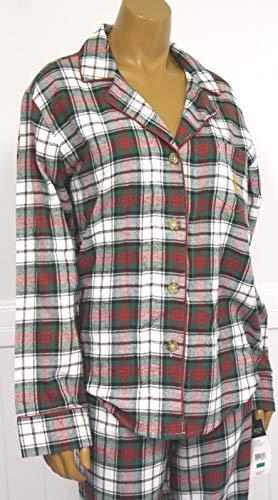 Ralph Lauren Women's Tartan Plaid Flannel Pajama Set Gold Monogram Logo - Red Green Ivory