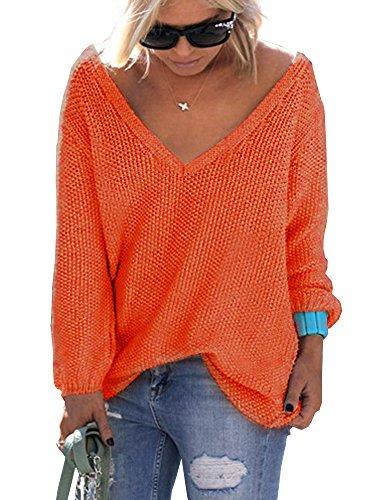 Inverno Elevesee Casual V Lunga Pullover Arancione Moda Sweater Autunno Manica Scollo Sportiva Outerwear Maglione Donna Sciolto Eleganti Solido Maglione Maglie 1Fwrq4nFEf