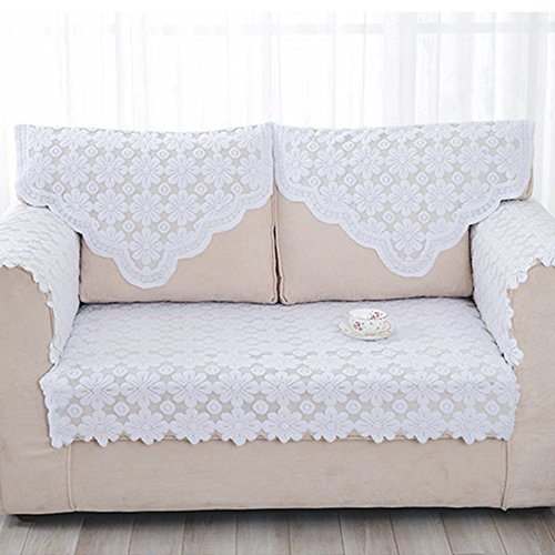 yazi Lace Sofa Back Covers Table Sofa Doily 25 inch by 29 1/2 inch, Set of