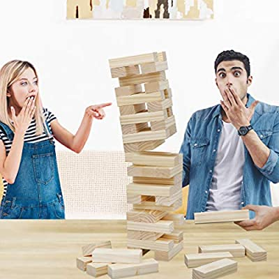 ZENY 54 Pieces Giant Tumbling Timbers Toppling Tower Extra Large Wood Block Stacking Games Building Blocks Yard Game for Kids,Adults,Build to 5 Feet: Toys & Games