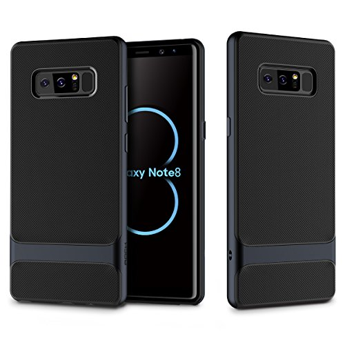 Galaxy Note 8, ROCK [Royce] Ultra Thin Slim Lightweight Dual Layered Metal Texture Side Buttons Hard PC + Soft TPU Protective Shell Case for Samsung Galaxy Note 8 (Dark - Rock Dark