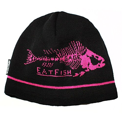 Grundens Eat Fish Beanie - Black/Pink - One size fits all