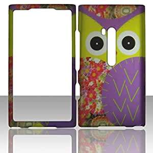 2D Yellow Owl Nokia Lumia 900 AT&T Hard Case Snap-on Rubberized Touch Case Cover Faceplates