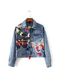 YINUOWEI Embroidery Floral Baseball Bomer Jacket Casual Short Demin Coat Outwear